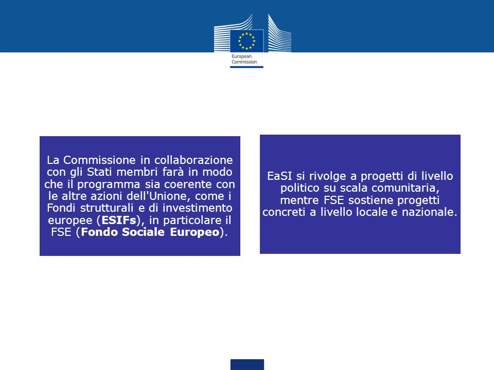 La Commissione in collaborazione con gli Stati membri farà in modo che il programma sia coerente con le altre azioni dell Unione, come i Fondi strutturali e di investimento europee (ESIFs), in particolare il FSE (Fondo Sociale Europeo).