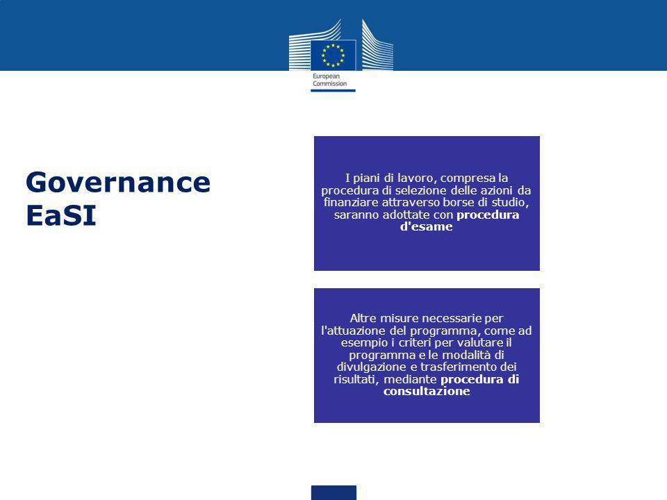 I piani di lavoro, compresa la procedura di selezione delle azioni da finanziare attraverso borse di studio, saranno adottate con procedura d esame Altre misure necessarie per l attuazione del programma, come ad esempio i criteri per valutare il programma e le modalità di divulgazione e trasferimento dei risultati, mediante procedura di consultazione Governance EaSI