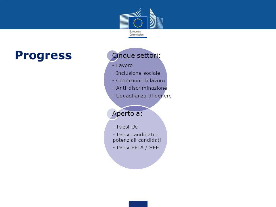 Obiettivi intermedi: Effettiva applicazione delle norme UE sulla protezione dei lavoratori e la parità Comprensione e appropriazione degli obiettivi dell UE in comune Partenariati efficaci Obiettivi immediati: Efficace condivisione delle informazioni Raccolta di informazioni pertinenti, credibili e accurate nell interesse delle parti Integrazione delle questioni trasversali Maggiore capacità delle reti nazionali ed europee di influire nel processo decisionale Dibattito di alta qualità sulla partecipazione politica
