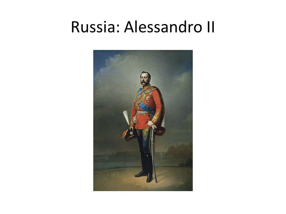 Russia Abolizione servitù della gleba Parziale e temporanea riforma agraria (mir e soviet) Diffusione del populismo (Herzen) Diffusione del nichilismo anarchico (Bakunin) Assassinio di Alessandro II