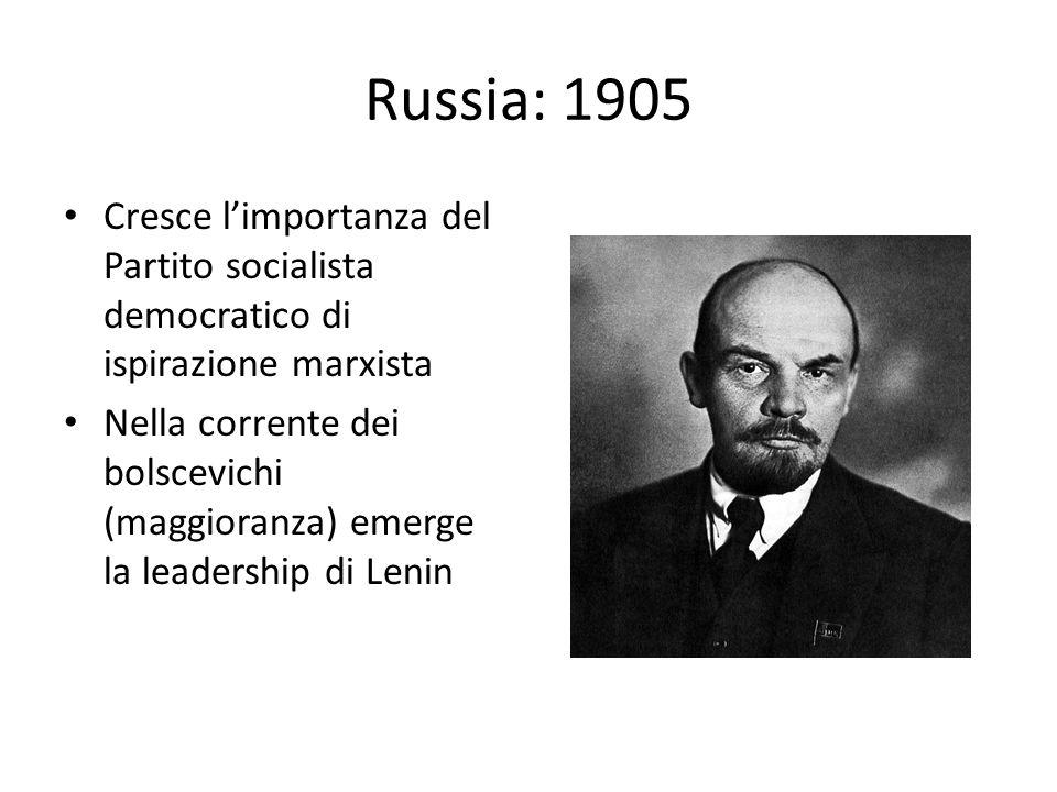 Russia: 1905 Cresce l'importanza del Partito socialista democratico di ispirazione marxista Nella corrente dei bolscevichi (maggioranza) emerge la leadership di Lenin