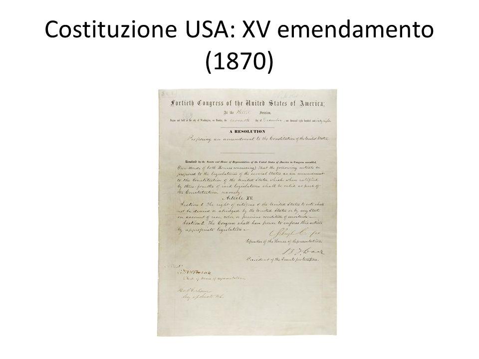 Costituzione USA: XV emendamento (1870)