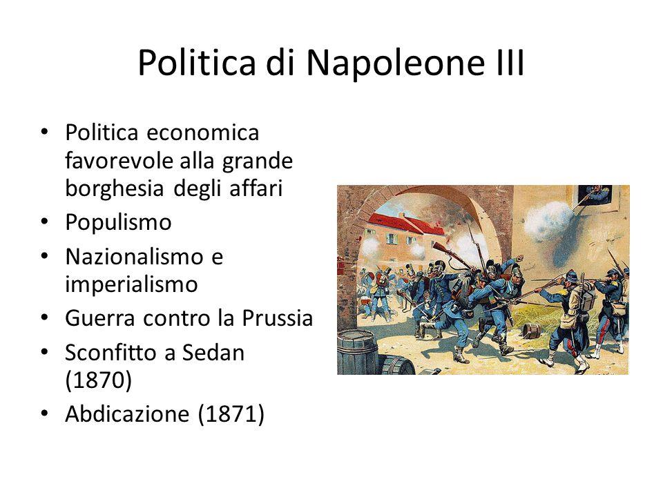 Politica di Napoleone III Politica economica favorevole alla grande borghesia degli affari Populismo Nazionalismo e imperialismo Guerra contro la Prussia Sconfitto a Sedan (1870) Abdicazione (1871)