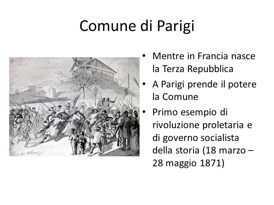 Comune di Parigi Mentre in Francia nasce la Terza Repubblica A Parigi prende il potere la Comune Primo esempio di rivoluzione proletaria e di governo socialista della storia (18 marzo – 28 maggio 1871)