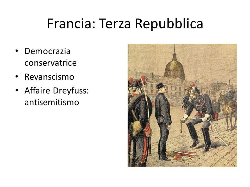 Francia: Terza Repubblica Democrazia conservatrice Revanscismo Affaire Dreyfuss: antisemitismo