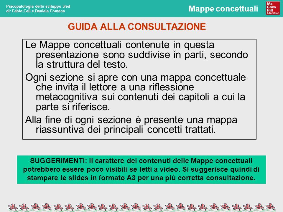 Mappe concettuali Psicopatologia dello sviluppo 3/ed di: Fabio Celi e Daniela Fontana Le Mappe concettuali contenute in questa presentazione sono suddivise in parti, secondo la struttura del testo.