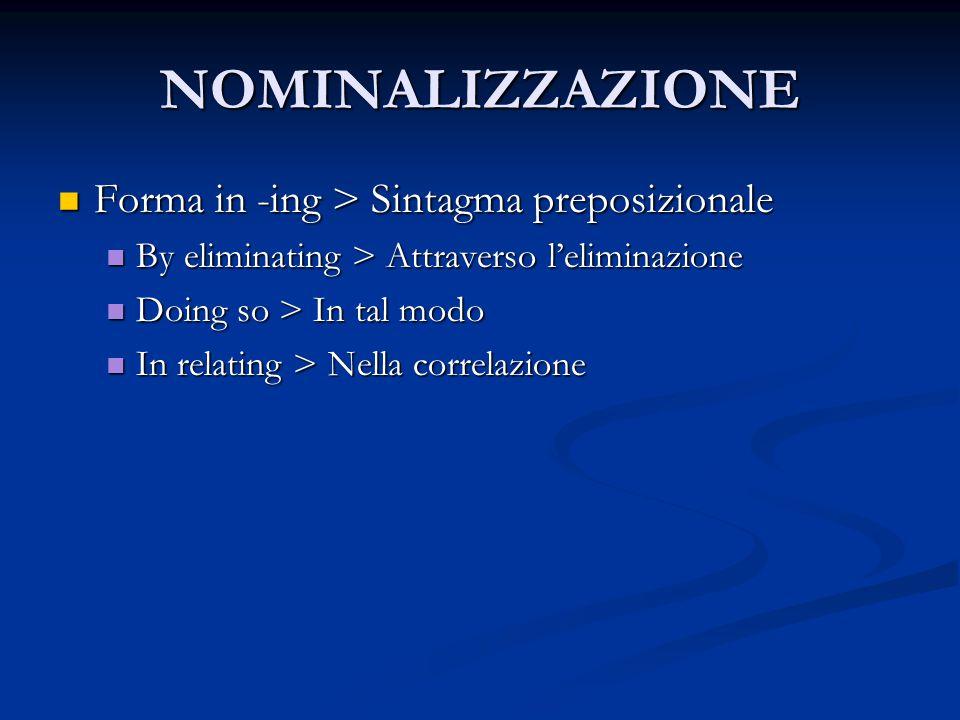 NOMINALIZZAZIONE Forma in -ing > Sintagma preposizionale Forma in -ing > Sintagma preposizionale By eliminating > Attraverso l'eliminazione By elimina