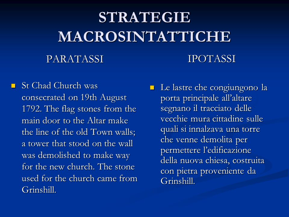 STRATEGIE MACROSINTATTICHE PARATASSI St Chad Church was consecrated on 19th August 1792. The flag stones from the main door to the Altar make the line