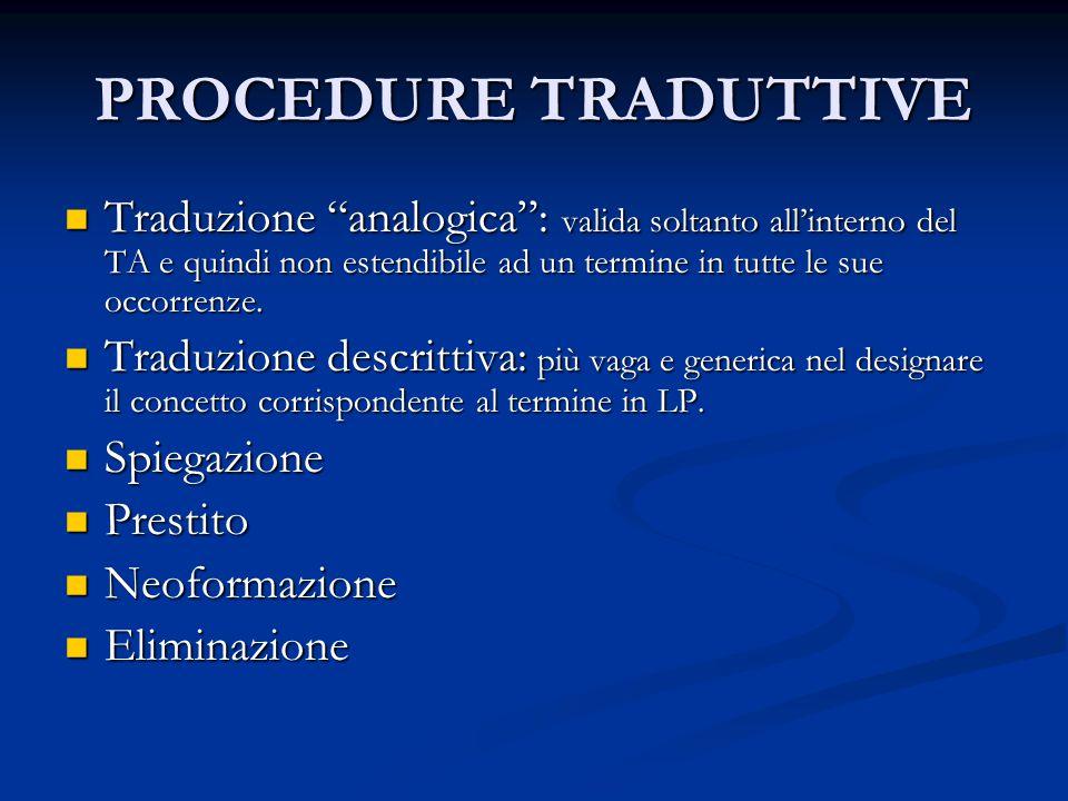 """PROCEDURE TRADUTTIVE Traduzione """"analogica"""": valida soltanto all'interno del TA e quindi non estendibile ad un termine in tutte le sue occorrenze. Tra"""
