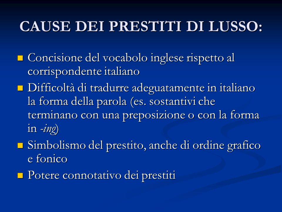CAUSE DEI PRESTITI DI LUSSO: Concisione del vocabolo inglese rispetto al corrispondente italiano Concisione del vocabolo inglese rispetto al corrispon