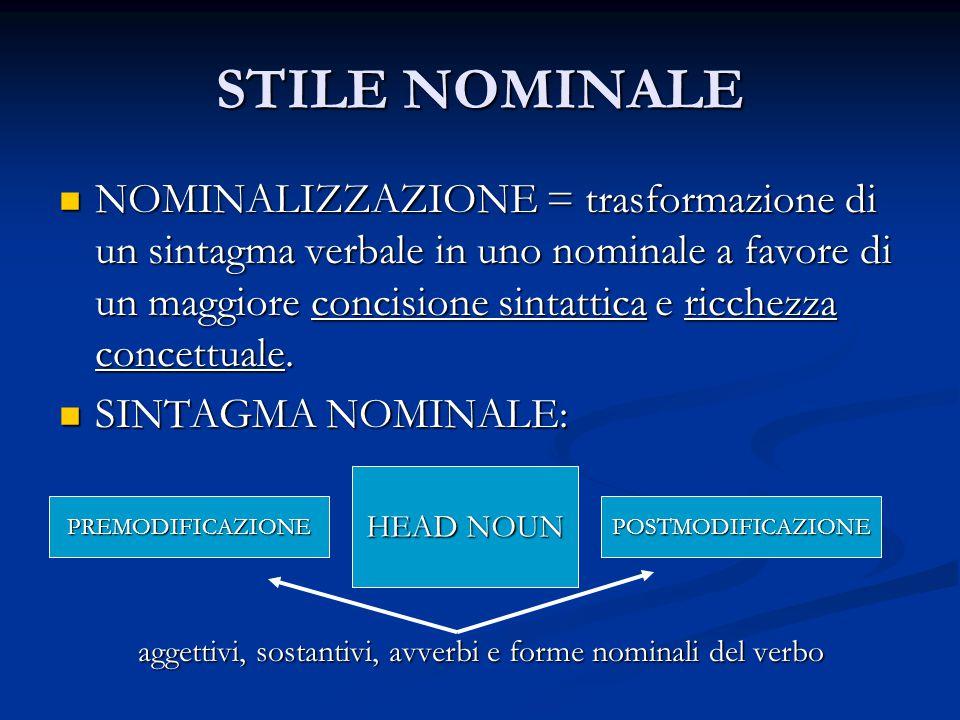 STILE NOMINALE NOMINALIZZAZIONE = trasformazione di un sintagma verbale in uno nominale a favore di un maggiore concisione sintattica e ricchezza conc