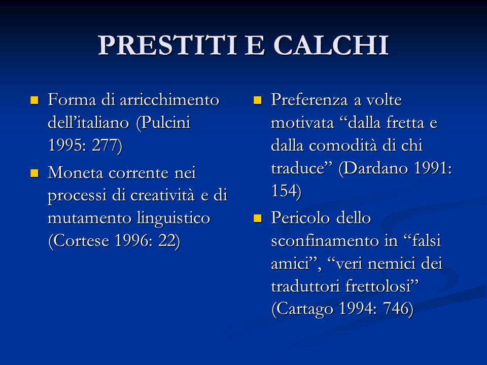PRESTITI E CALCHI Forma di arricchimento dell'italiano (Pulcini 1995: 277) Forma di arricchimento dell'italiano (Pulcini 1995: 277) Moneta corrente ne