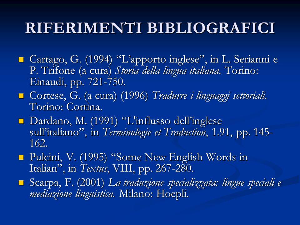 """RIFERIMENTI BIBLIOGRAFICI Cartago, G. (1994) """"L'apporto inglese"""", in L. Serianni e P. Trifone (a cura) Storia della lingua italiana. Torino: Einaudi,"""