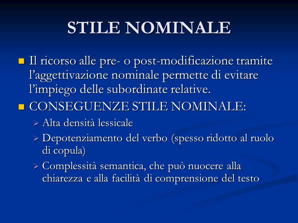STILE NOMINALE Il ricorso alle pre- o post-modificazione tramite l'aggettivazione nominale permette di evitare l'impiego delle subordinate relative. I