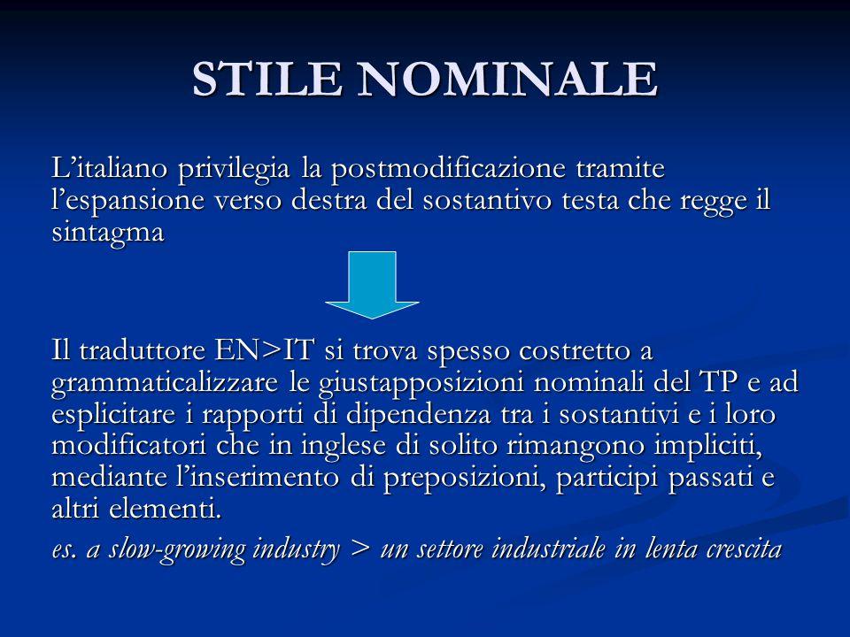 STILE NOMINALE L'italiano privilegia la postmodificazione tramite l'espansione verso destra del sostantivo testa che regge il sintagma Il traduttore E