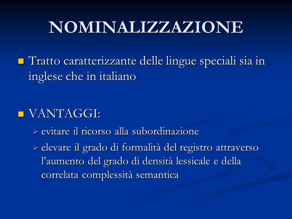 NOMINALIZZAZIONE Tratto caratterizzante delle lingue speciali sia in inglese che in italiano Tratto caratterizzante delle lingue speciali sia in ingle