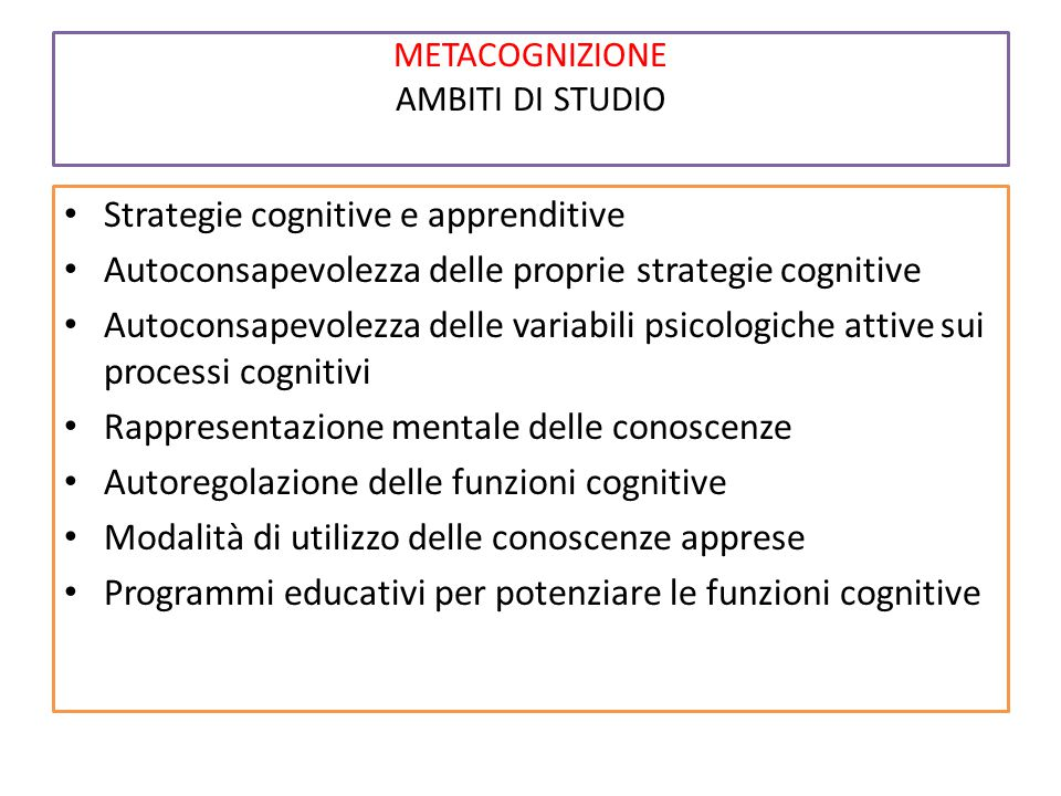 METACOGNIZIONE AMBITI DI STUDIO Strategie cognitive e apprenditive Autoconsapevolezza delle proprie strategie cognitive Autoconsapevolezza delle varia