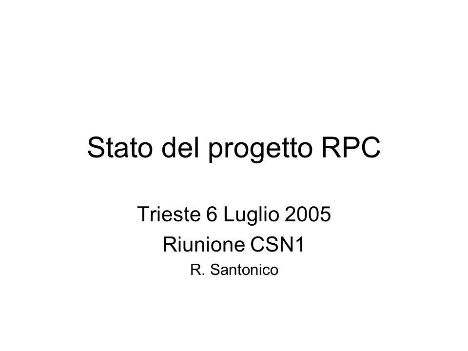 Stato del progetto RPC Trieste 6 Luglio 2005 Riunione CSN1 R. Santonico