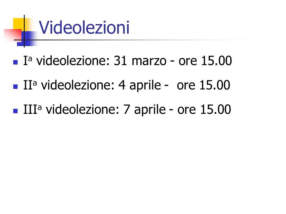 Videolezioni I a videolezione: 31 marzo - ore 15.00 II a videolezione: 4 aprile - ore 15.00 III a videolezione: 7 aprile - ore 15.00