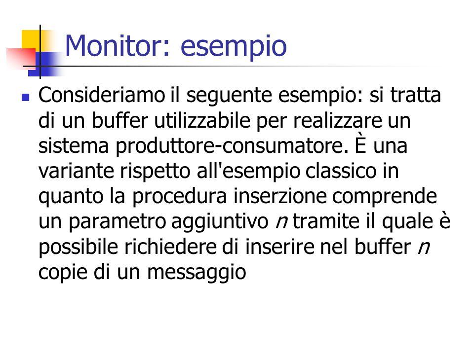 Monitor: esempio Consideriamo il seguente esempio: si tratta di un buffer utilizzabile per realizzare un sistema produttore-consumatore.