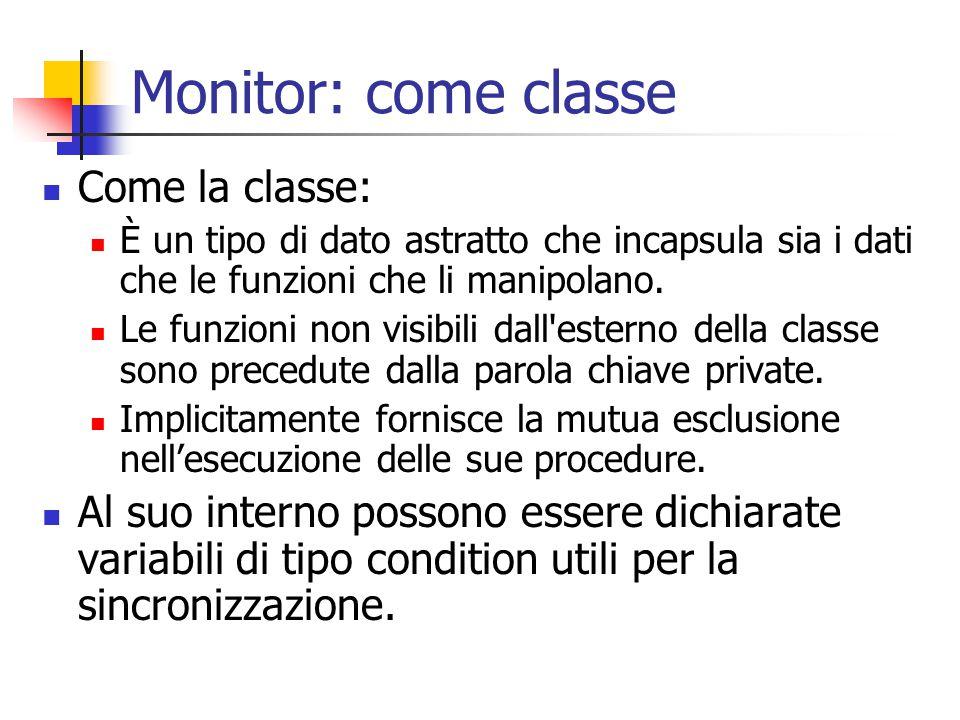 Monitor: come classe Come la classe: È un tipo di dato astratto che incapsula sia i dati che le funzioni che li manipolano.