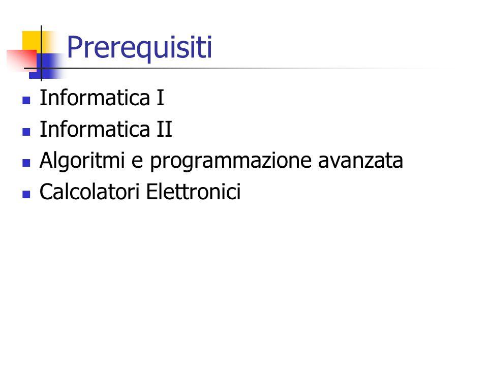 Prerequisiti Informatica I Informatica II Algoritmi e programmazione avanzata Calcolatori Elettronici