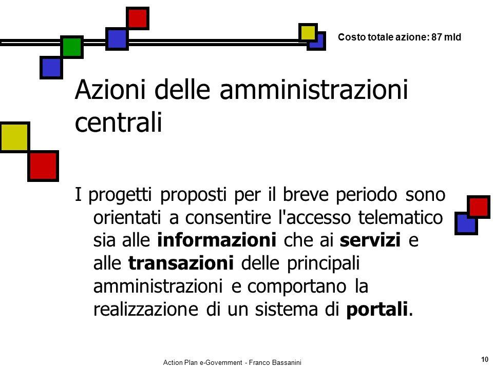 Action Plan e-Government - Franco Bassanini 10 Azioni delle amministrazioni centrali I progetti proposti per il breve periodo sono orientati a consent