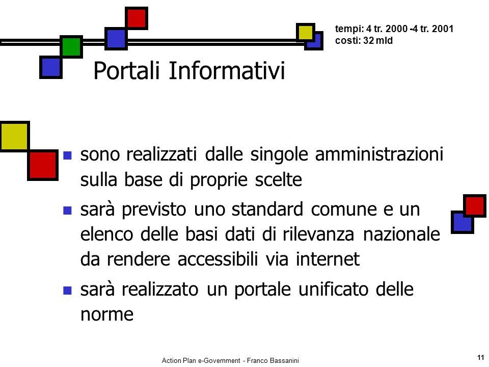 Action Plan e-Government - Franco Bassanini 11 Portali Informativi sono realizzati dalle singole amministrazioni sulla base di proprie scelte sarà pre