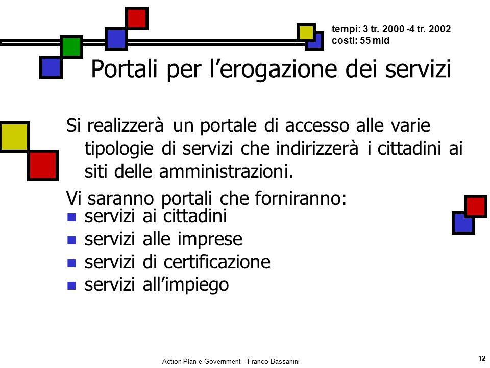 Action Plan e-Government - Franco Bassanini 12 Portali per l'erogazione dei servizi Si realizzerà un portale di accesso alle varie tipologie di serviz