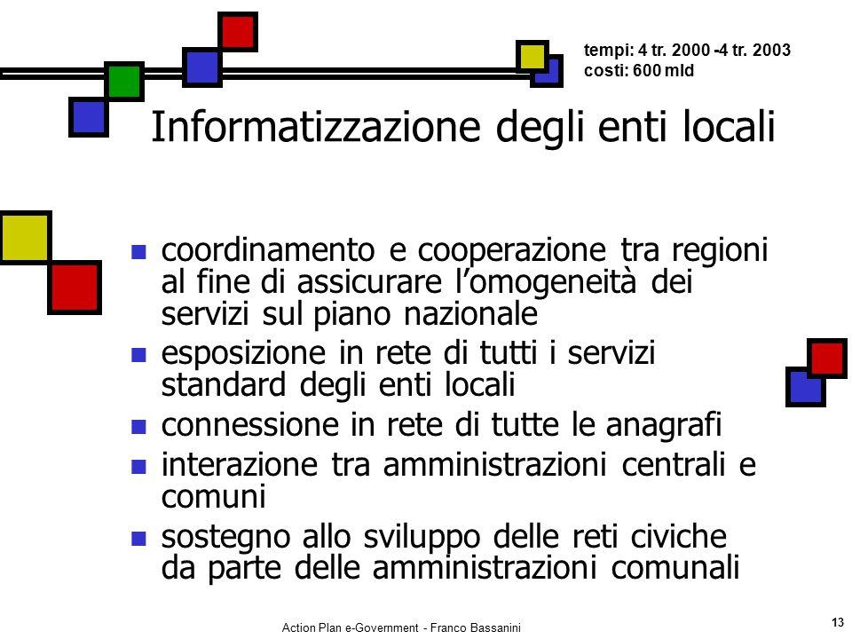 Action Plan e-Government - Franco Bassanini 13 Informatizzazione degli enti locali coordinamento e cooperazione tra regioni al fine di assicurare l'om