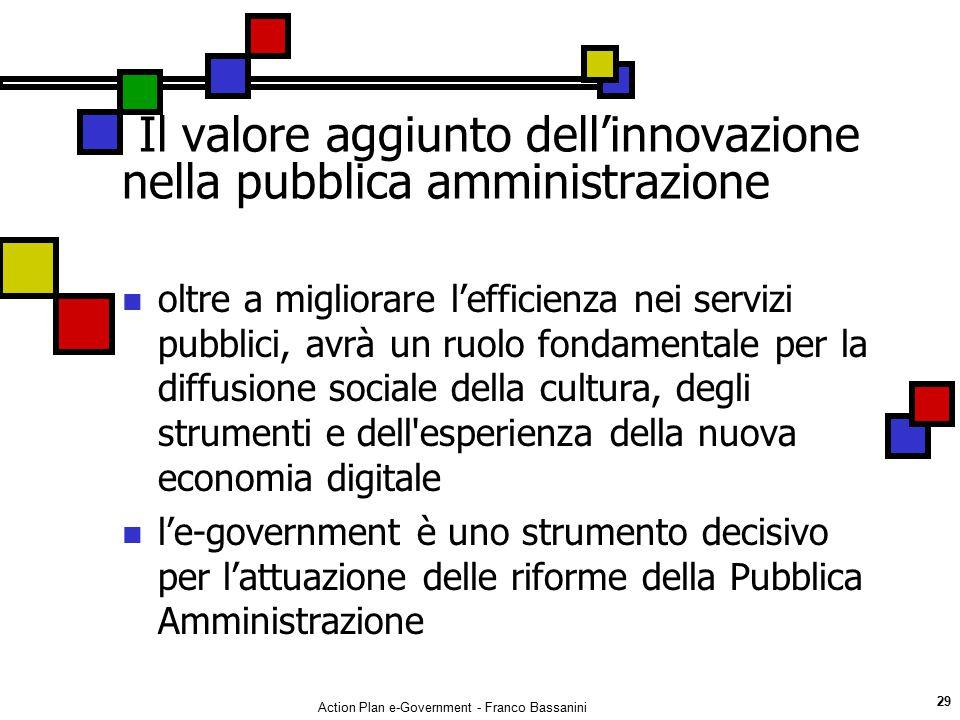 Action Plan e-Government - Franco Bassanini 29 Il valore aggiunto dell'innovazione nella pubblica amministrazione oltre a migliorare l'efficienza nei