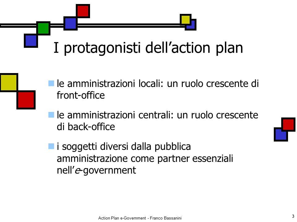 Action Plan e-Government - Franco Bassanini 3 I protagonisti dell'action plan le amministrazioni locali: un ruolo crescente di front-office le amminis