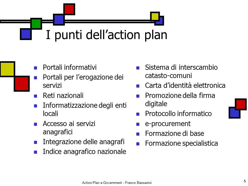 Action Plan e-Government - Franco Bassanini 5 I punti dell'action plan Portali informativi Portali per l'erogazione dei servizi Reti nazionali Informa