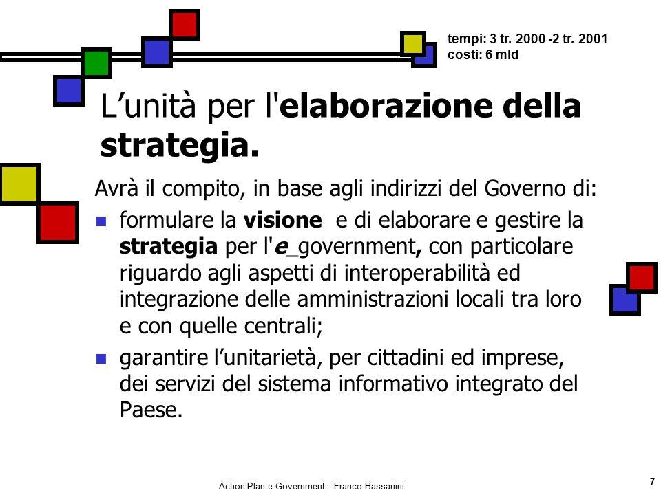 Action Plan e-Government - Franco Bassanini 7 L'unità per l'elaborazione della strategia. Avrà il compito, in base agli indirizzi del Governo di: form