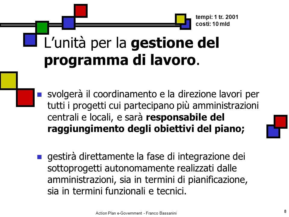 Action Plan e-Government - Franco Bassanini 8 L'unità per la gestione del programma di lavoro. svolgerà il coordinamento e la direzione lavori per tut