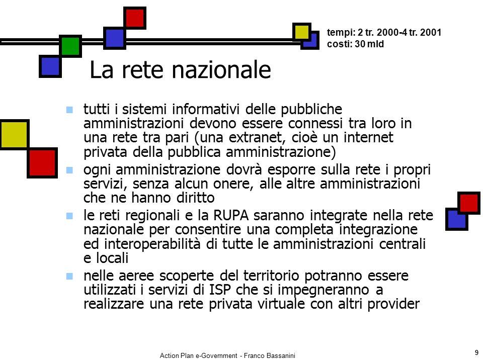 Action Plan e-Government - Franco Bassanini 9 La rete nazionale tutti i sistemi informativi delle pubbliche amministrazioni devono essere connessi tra