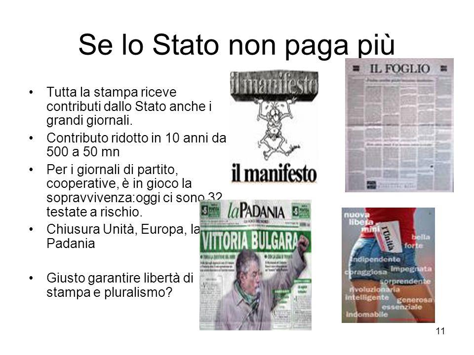 11 Se lo Stato non paga più Tutta la stampa riceve contributi dallo Stato anche i grandi giornali. Contributo ridotto in 10 anni da 500 a 50 mn Per i