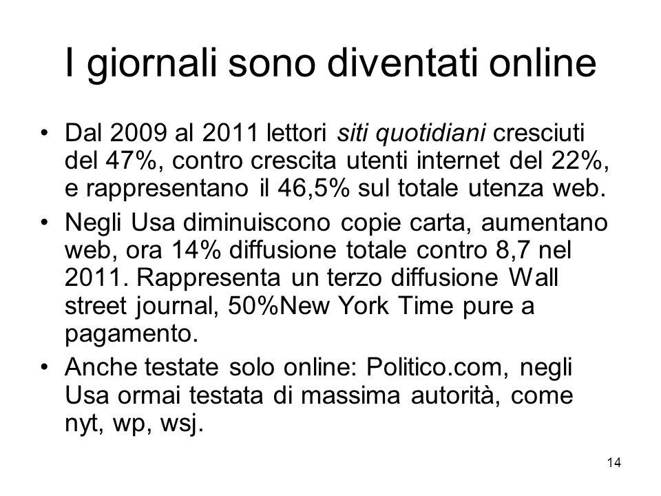 14 I giornali sono diventati online Dal 2009 al 2011 lettori siti quotidiani cresciuti del 47%, contro crescita utenti internet del 22%, e rappresenta