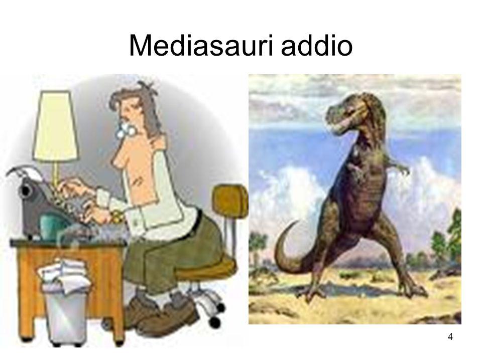5 L'asteroide Internet Michael Crichton (autore di Jurassic Park) coniò la definizione mediasauri nel 1994, prevedendo la possibile fine del vecchio sistema dell'informazione e della tradizionale figura del giornalista per colpa di un asteroide che uccide di colpo i dinosauri.