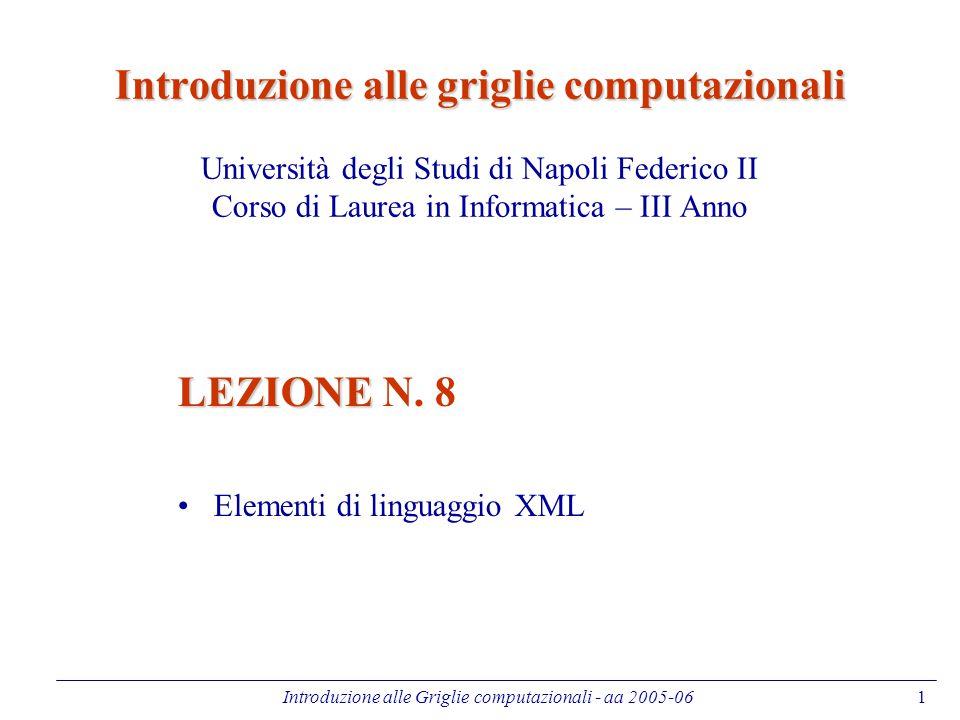 Introduzione alle Griglie computazionali - aa 2005-06 2 Sommario Introduzione Dall'HTML all'XML XML DTD, XML Schema Namespaces XPath Xsl, Xslt Xquery