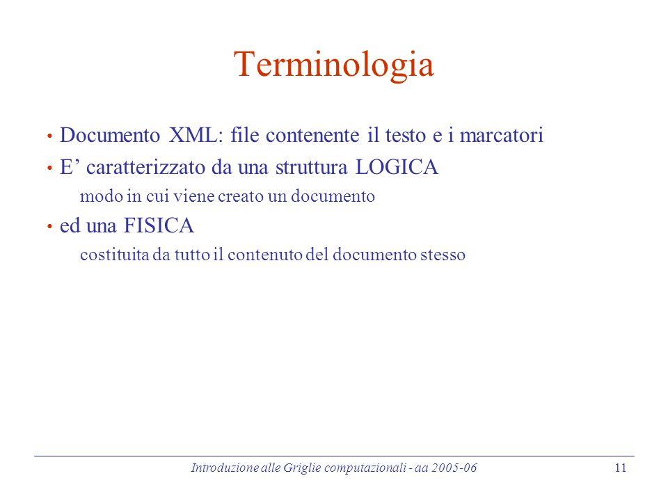 Introduzione alle Griglie computazionali - aa 2005-06 11 Terminologia Documento XML: file contenente il testo e i marcatori E' caratterizzato da una struttura LOGICA modo in cui viene creato un documento ed una FISICA costituita da tutto il contenuto del documento stesso