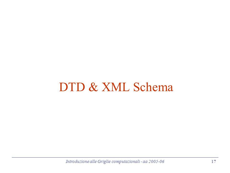 Introduzione alle Griglie computazionali - aa 2005-06 17 DTD & XML Schema