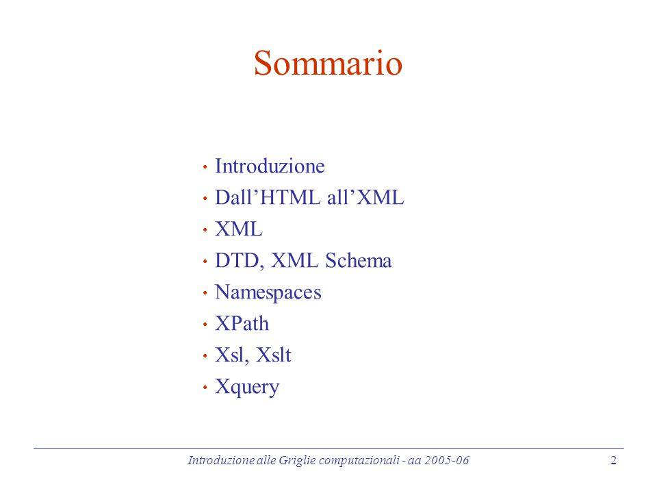 Introduzione alle Griglie computazionali - aa 2005-06 53 Processo di trasformazione Usa XPath per definire le porzioni di documento che soddisfano template predefiniti Su tali porzioni di XML è attuata la trasformazione Nulla è fatto sul resto del documento che viene lasciato intatto