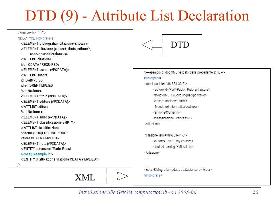 Introduzione alle Griglie computazionali - aa 2005-06 26 DTD (9) - Attribute List Declaration <!DOCTYPE bibliografia [ <!ELEMENT citazione (autore+, titolo, editore , anno ,classificazione )> <!ATTLIST citazione isbn CDATA #REQUIRED> <!ATTLIST autore id ID #IMPLIED idref IDREF #IMPLIED %attNazione> <!ATTLIST editore %attNazione;> <!ATTLIST classificazione schema (DDC|LCC|UDC) DDC valore CDATA #IMPLIED> <!ENTITY estensore Mario Rossi, mrossi@esempio.itmrossi@esempio.it > ]> Paolo Pialorsi XML il nuovo linguaggio Mondatori Informatica 2002 Erik T.Ray Learning XML … Bibliografia redatta da:&estensore.
