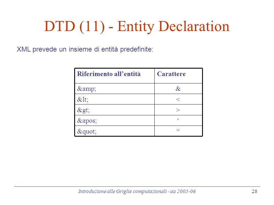 Introduzione alle Griglie computazionali - aa 2005-06 28 DTD (11) - Entity Declaration '&apos; >> << && CarattereRiferimento all'entità XML prevede un insieme di entità predefinite: