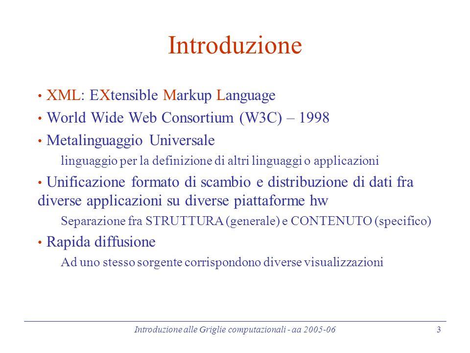 Introduzione alle Griglie computazionali - aa 2005-06 34 XML Schema (5) - Complex Type Si parla di Complex Type in presenza di: Dichiarazioni di attributi dove type è una definizione di tipo semplice, mentre use può essere optional (default), required, or prohibited (può essere usato in un'altra restrizione ma non direttamente) indica qualunque attributo tra quelli contenuti in uno dei namespaces definiti nel documento dell'XML Schema.