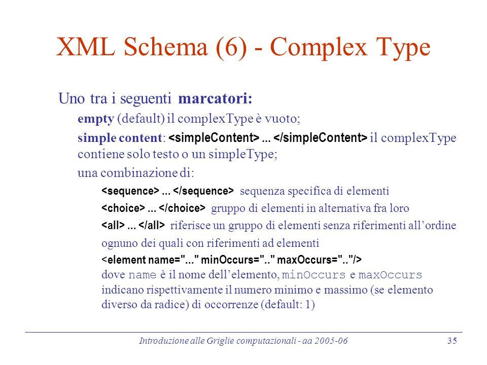 Introduzione alle Griglie computazionali - aa 2005-06 35 XML Schema (6) - Complex Type Uno tra i seguenti marcatori: empty (default) il complexType è vuoto; simple content:...