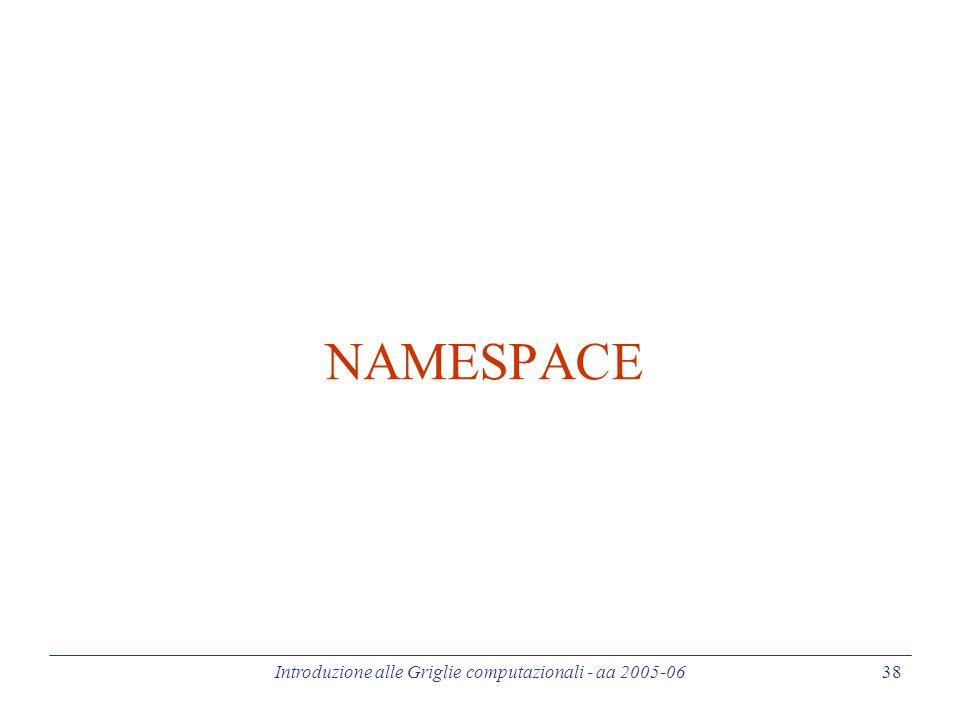 Introduzione alle Griglie computazionali - aa 2005-06 38 NAMESPACE