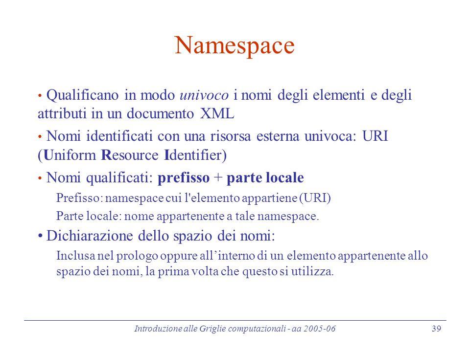 Introduzione alle Griglie computazionali - aa 2005-06 39 Namespace Qualificano in modo univoco i nomi degli elementi e degli attributi in un documento XML Nomi identificati con una risorsa esterna univoca: URI (Uniform Resource Identifier) Nomi qualificati: prefisso + parte locale Prefisso: namespace cui l elemento appartiene (URI) Parte locale: nome appartenente a tale namespace.