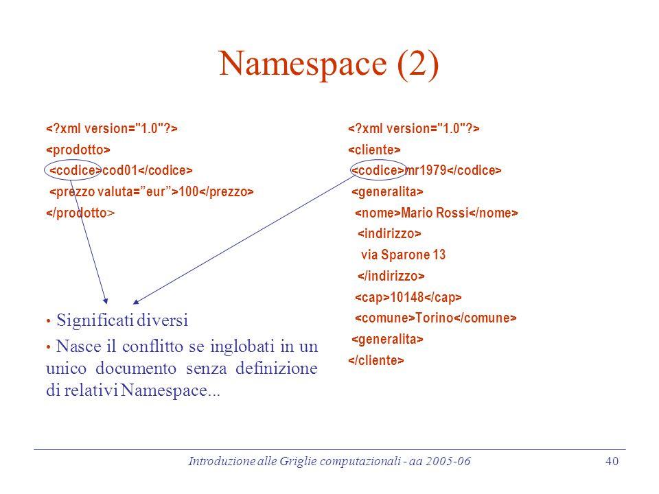 Introduzione alle Griglie computazionali - aa 2005-06 40 Namespace (2) cod01 100 Significati diversi Nasce il conflitto se inglobati in un unico documento senza definizione di relativi Namespace...